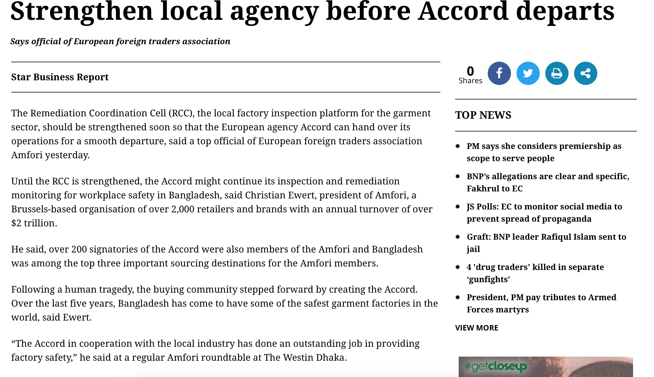 Daily Star, BD: Strengthen local agency before Accord