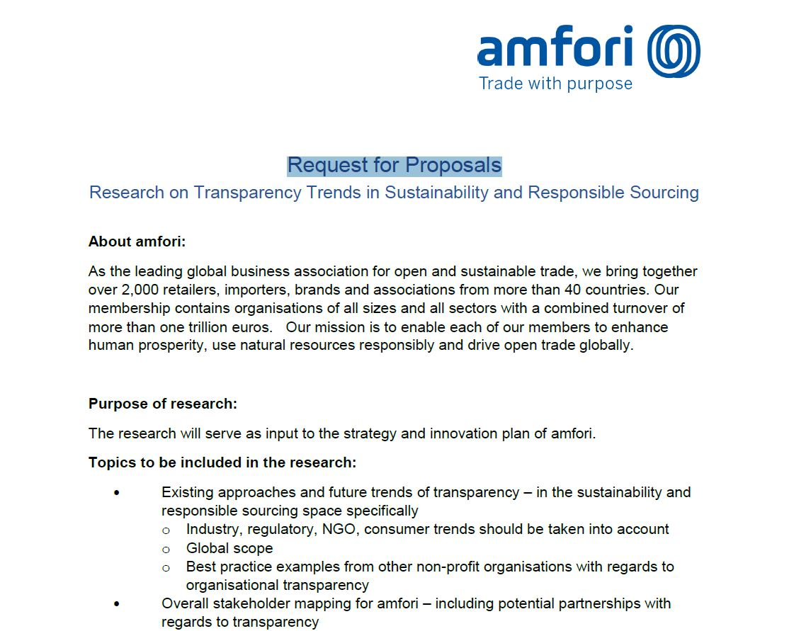 Request for Proposals: Transparency | amfori