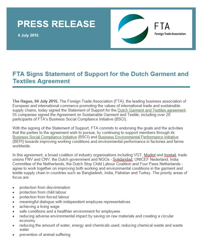 PRESS RELEASE: FTA Signs Statement of Support for the Dutch Garment