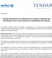 TENDAM STRENGTHENS ITS COMMITMENT TO A MORE SUSTAINABLE AND RESPONSIBLE SUPPLY CHAIN THROUGH ITS PARTNERSHIP WITH AMFORI